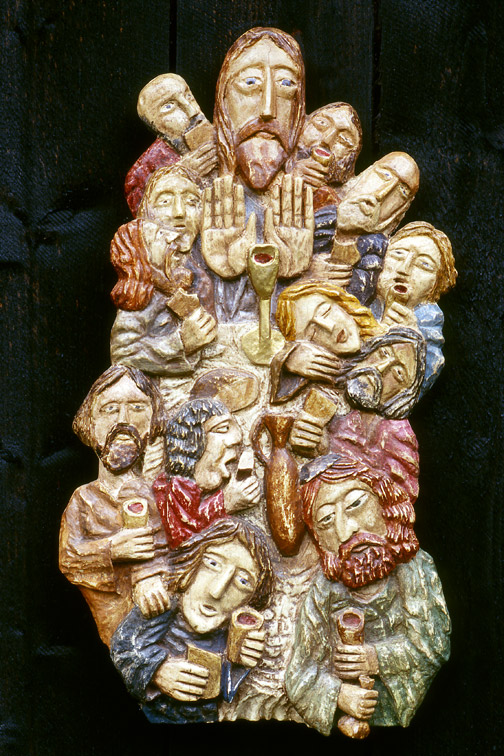 Last Supper - Wooden Sculpture, Self-taught Art,