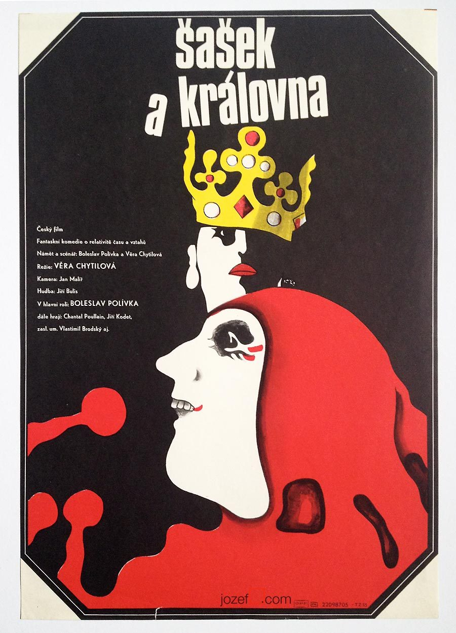 The Jester and The Queen - Vintage Movie Poster - Věra Chytilová's film posters.