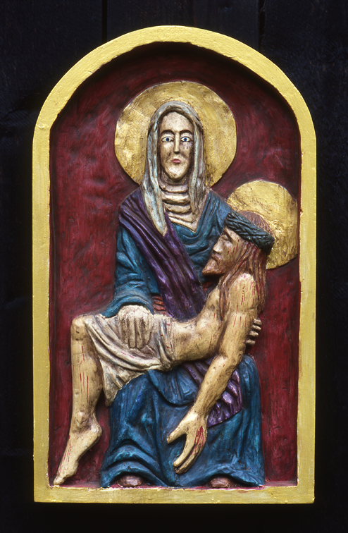 Wooden hand carved painted relief - Pieta