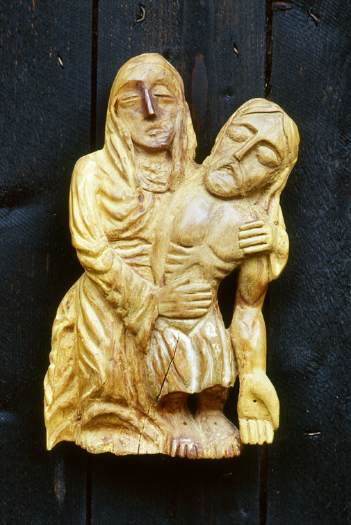 Pieta - Wood Sculpture, Self-taught Art
