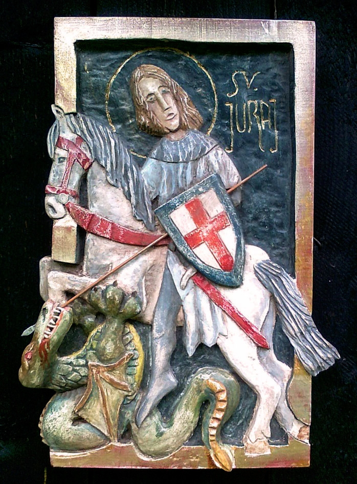 Wooden hand carved painted relief, Saint George, Lime wood, Acrylic Colour