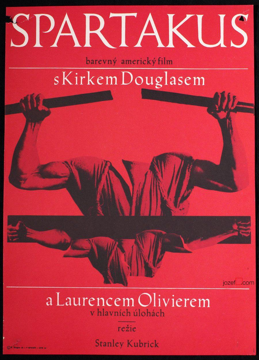 Spartacus Movie Poster, Stanley Kubrick, 60s Cinema Art
