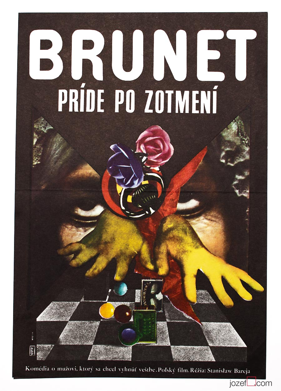 Movie poster, Brunet Will Call, 70s Cinema Art