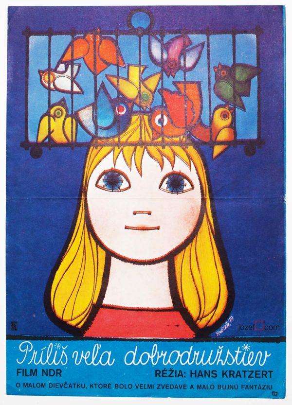 Illustrated Kids Movie Poster, Czechoslovakia, 1970s Cinema Art