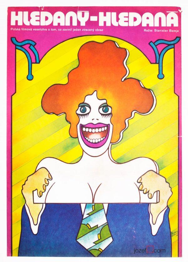 Movie Poster, Vratislav Hlavatý, 70s Illustrated Art
