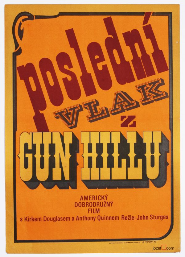 Western Movie Poster, Last Train from Gun Hill, 1970s Cinema Art