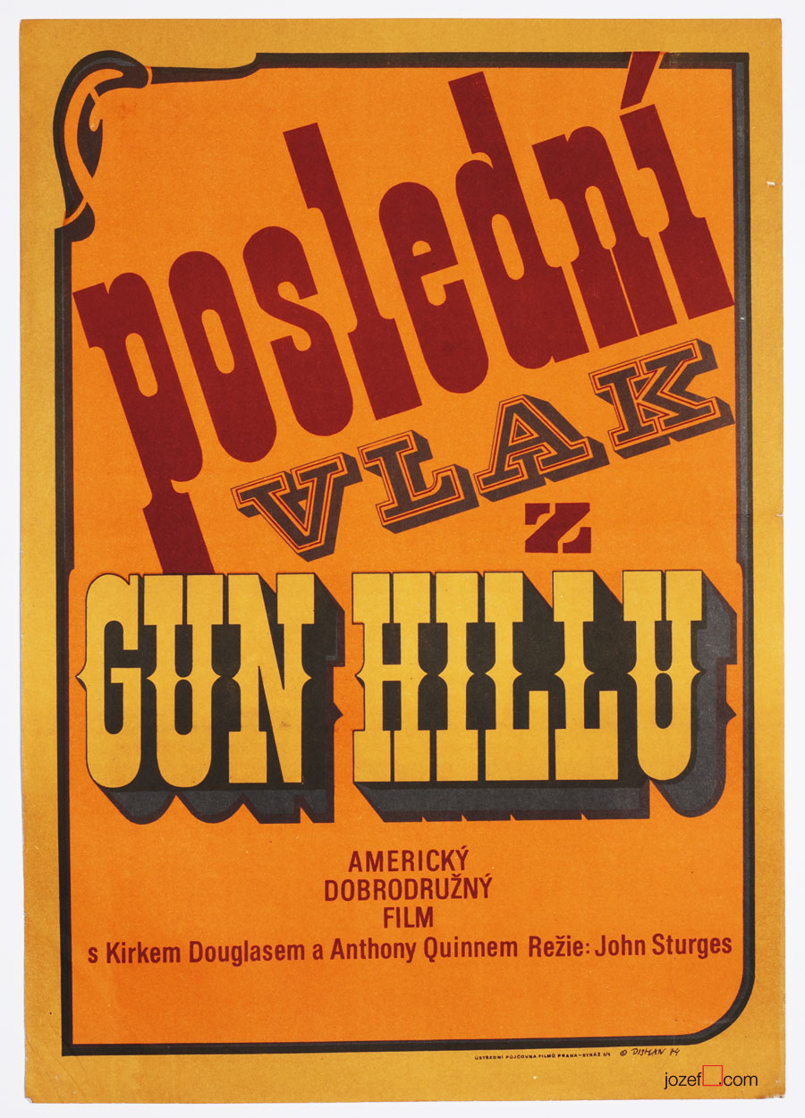 Western Movie Poster, Last Train from Gun Hill, 1970s Cinema Art