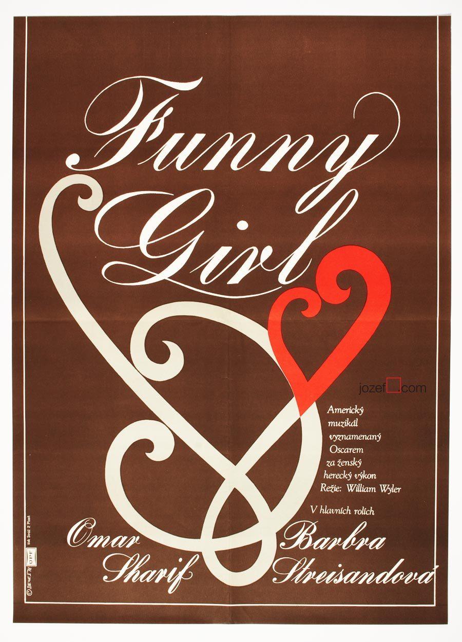 Funny Girl Movie Poster, 1970s Cinema Art