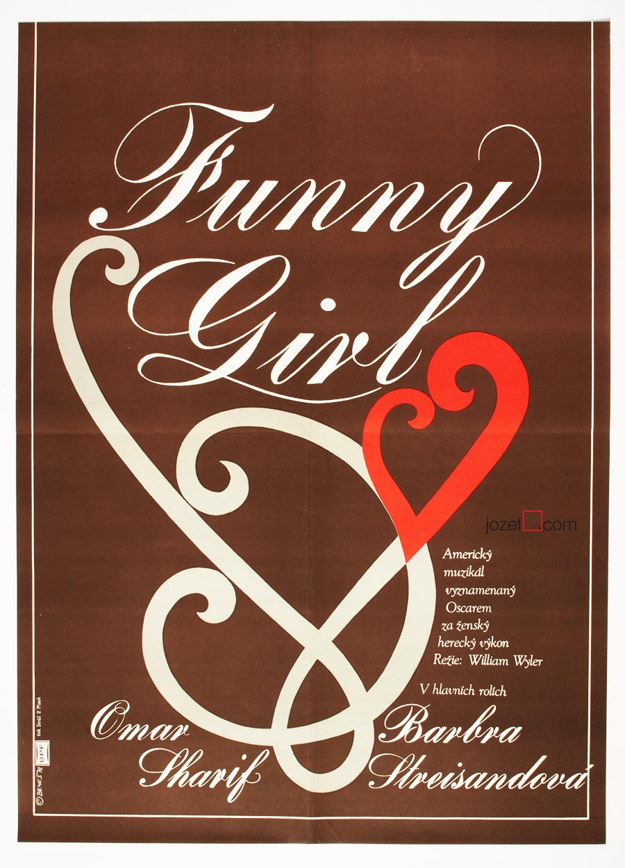 Funny Girl Movie Poster, 1970s Cinema Art