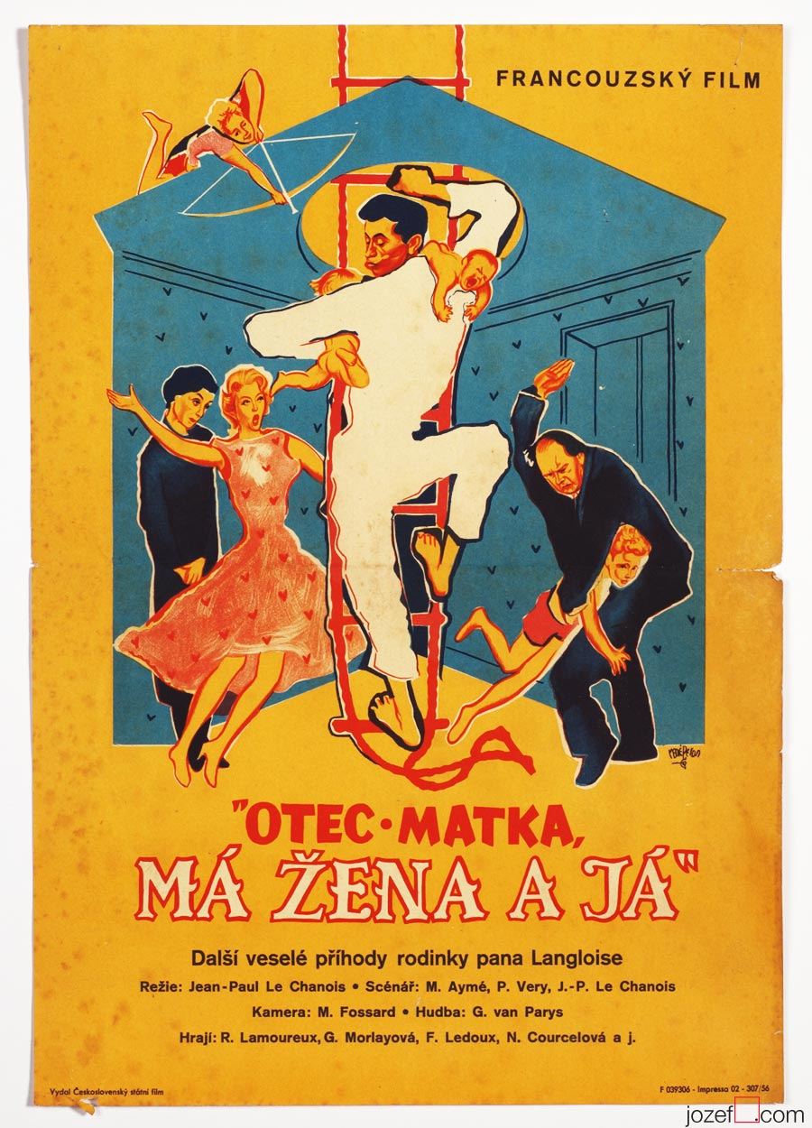 Movie Poster, Papa, mama, the Maid and I, 50s Cinema Art
