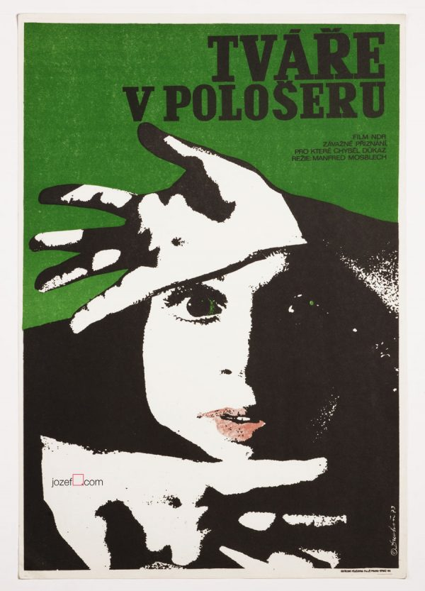 Movie Poster, Faces in the Darkness, Josef Duchon, 70s Cinema Art