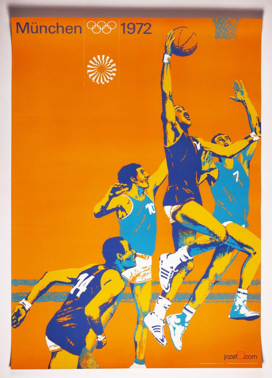 Otl Aicher, Basketball poster, Munich Olympics