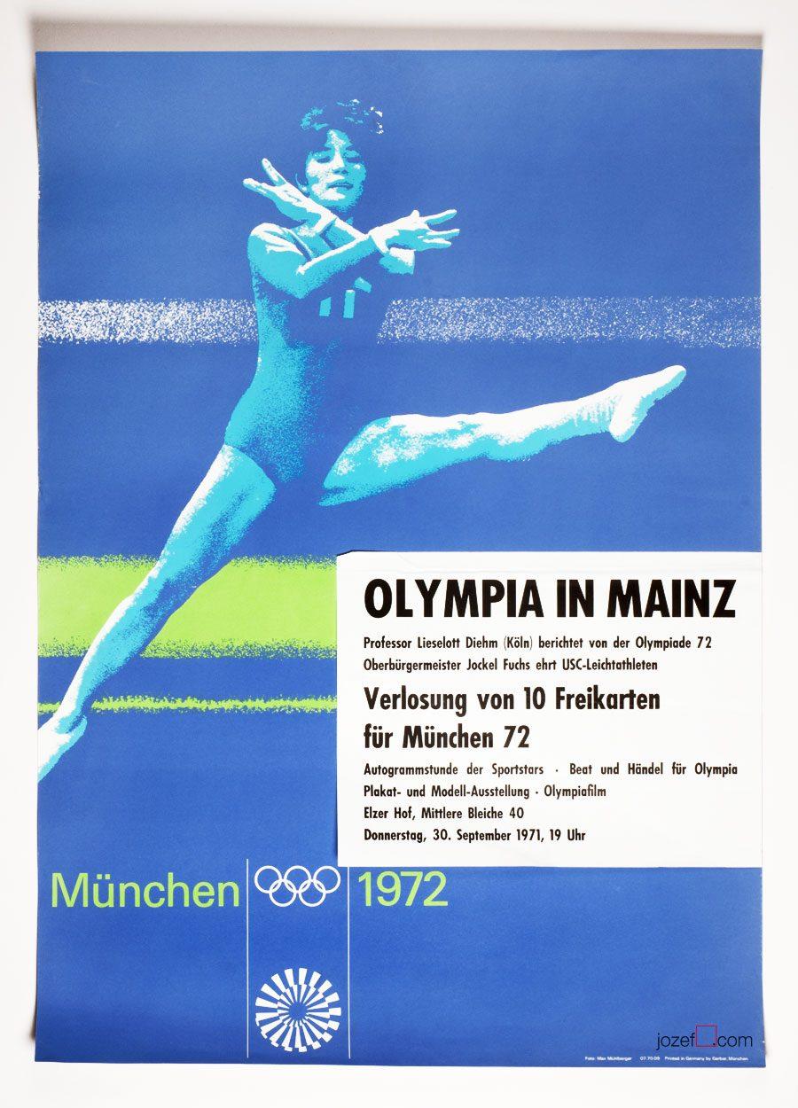 Gymnastics Poster, Munich Olympics, Otl Aicher