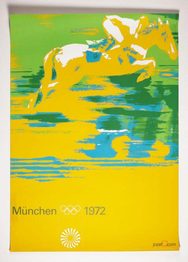 Modern Design Poster, Munich Olympics, Horse racing poster