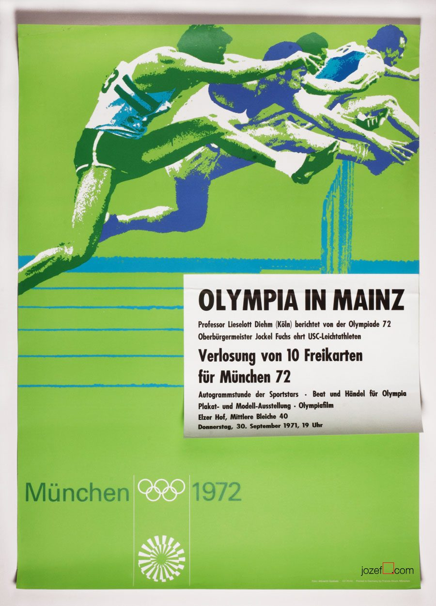 Vintage Poster, Olympic Hurdles, Otl Aicher