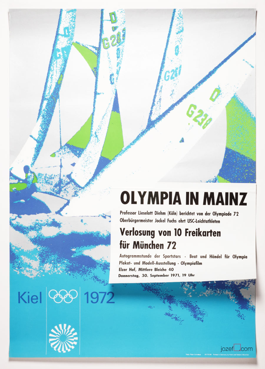 Munich Olympics, Vintage Poster, Otl Aicher, 1970s poster Design