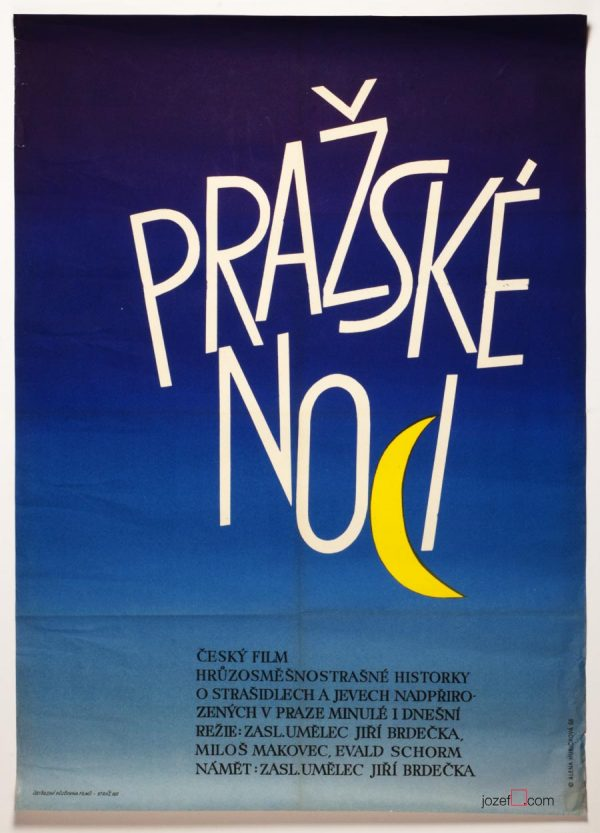 Minimalist poster Prague Nights, 1960s Poster