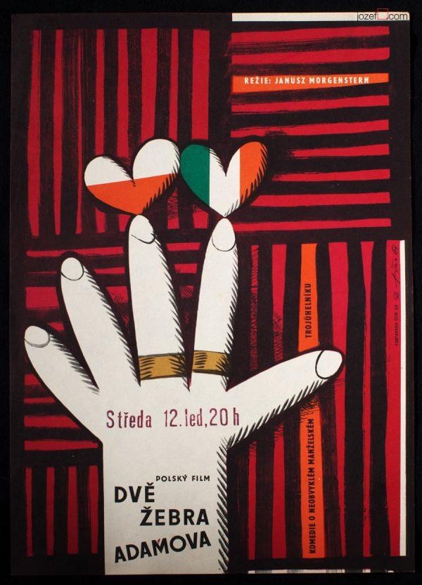 Movie Poster, Adam's Two Ribs, Jaroslav Fiser, 60s Cinema Art