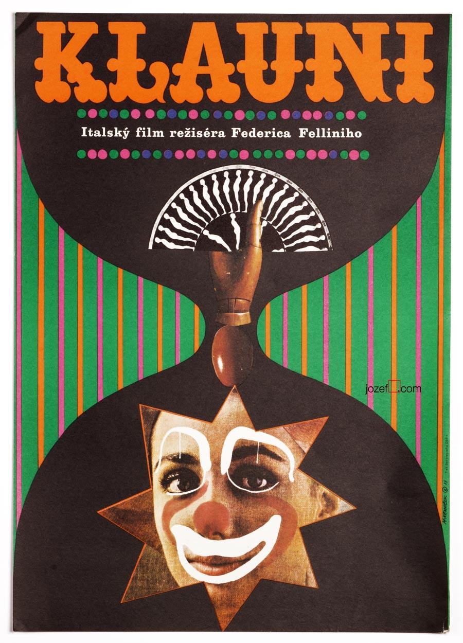 I Clowns, Federico Fellini, Vintage Movie Poster