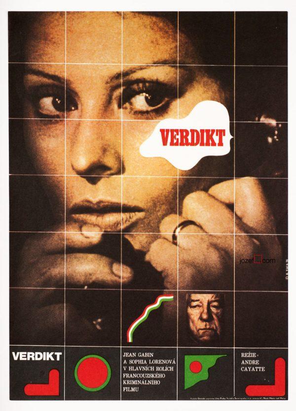 Vintage Movie Poster, The Verdict, Poster Design Karel Vaca.