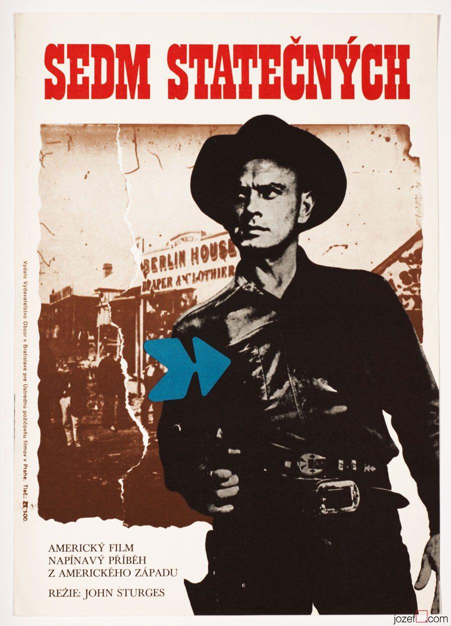 Magnificent Seven, Western Poster, 1970s Cinema Art