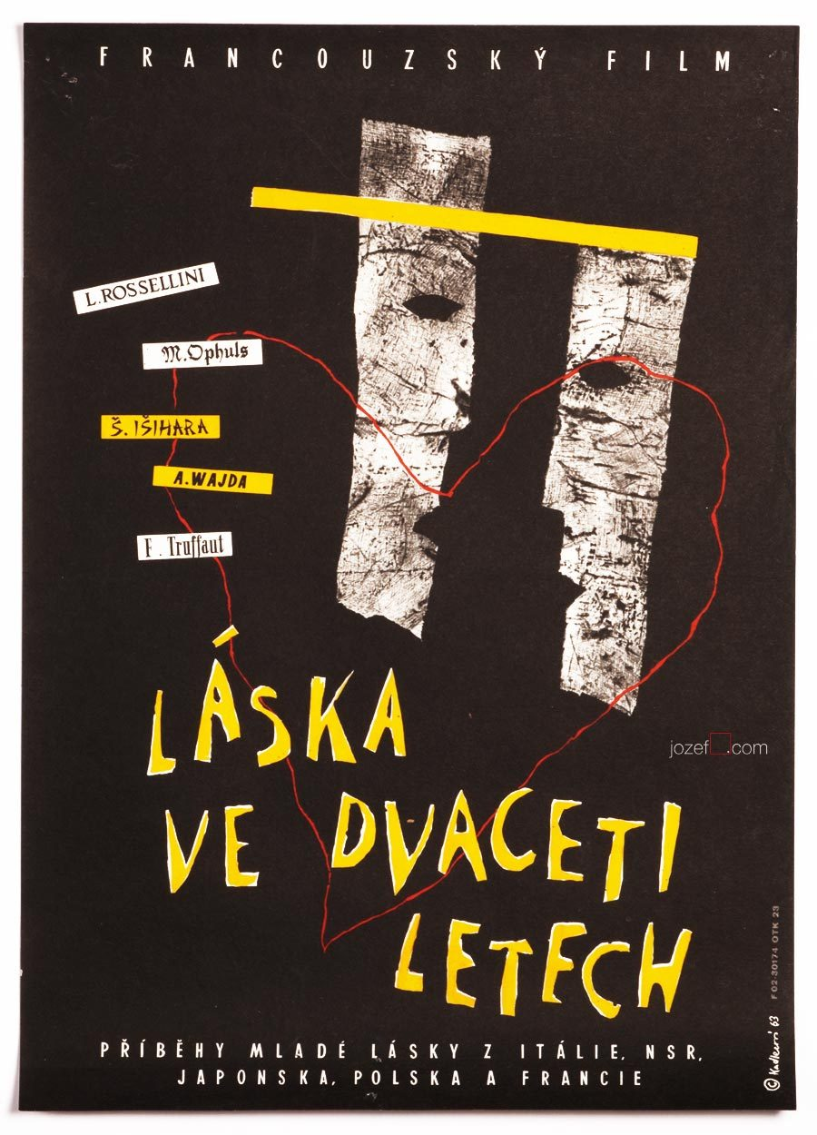 Movie Poster, Love at Twenty, Truffaut, Rossellini, Isihara