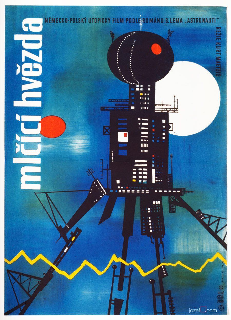 Sci-fi Poster, First Spaceship on Venus, 1960s Cinema Art