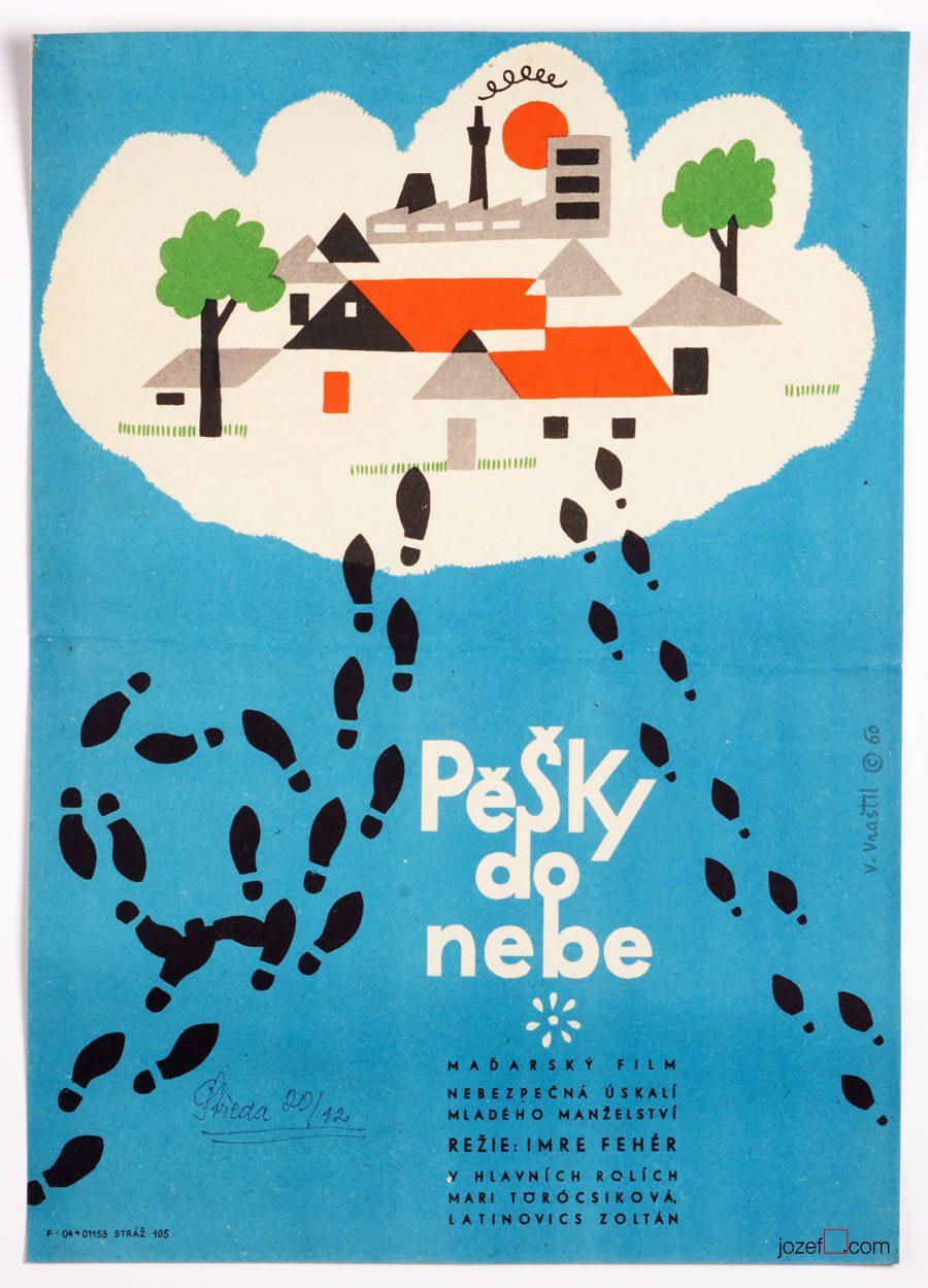 60s Movie Poster, Walking to Heaven, Illustrated Cinema Art