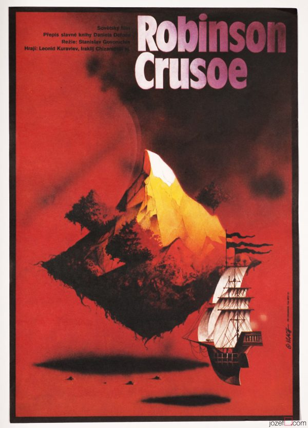 Surreal Poster Robinson Crusoe. 1980s Movie Poster Art.