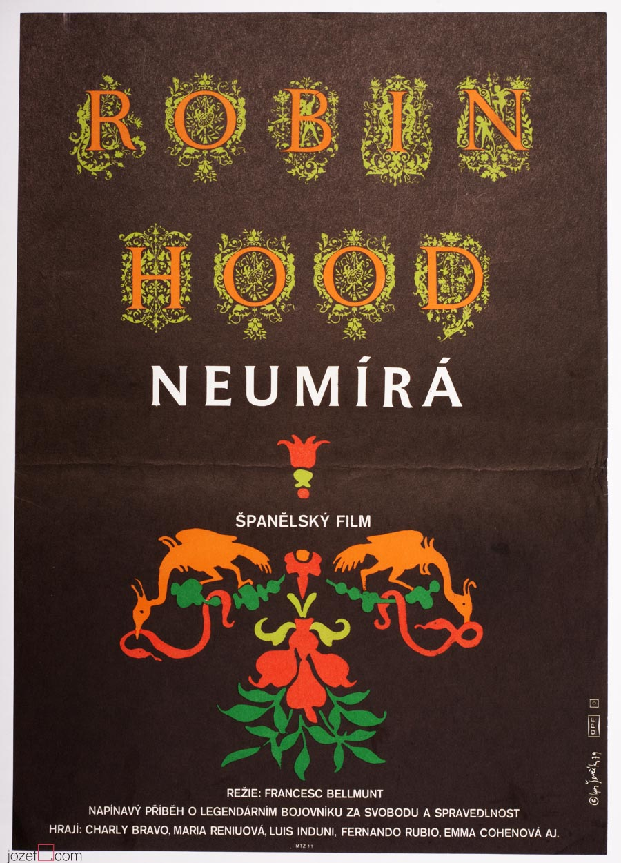 Typography Poster, Robin Hood Never Dies, 1970s Movie Poster