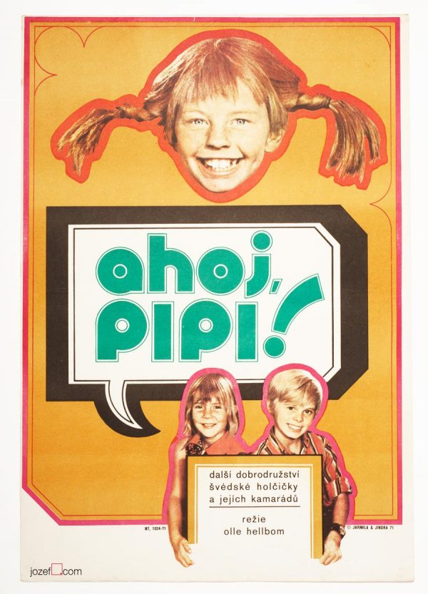 Pippi Goes on Board, Kids Movie Poster, 1970s Movie Poster