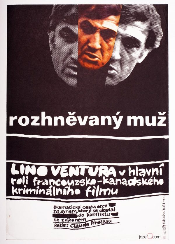 Movie Poster, The Angry Man, 1980s Collage Poster
