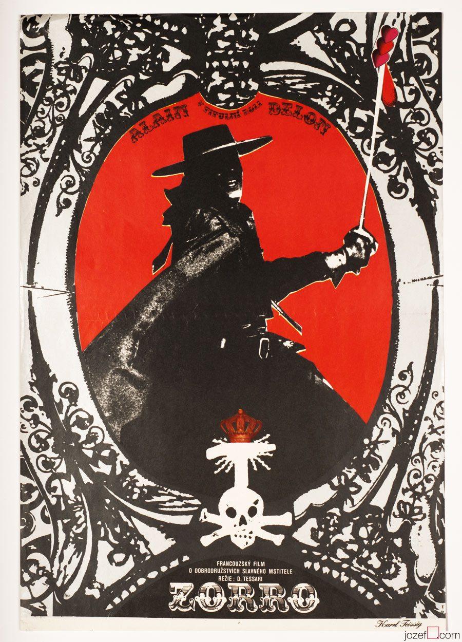 Zorro movie poster, Alain Delon, 1970s Poster Art