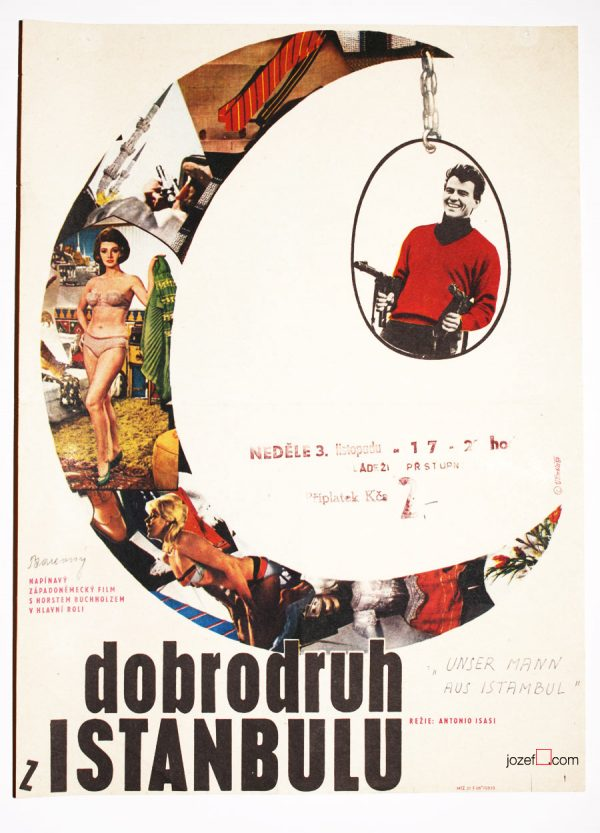 Film poster, That Man in Istanbul, 60s Collage Poster Art