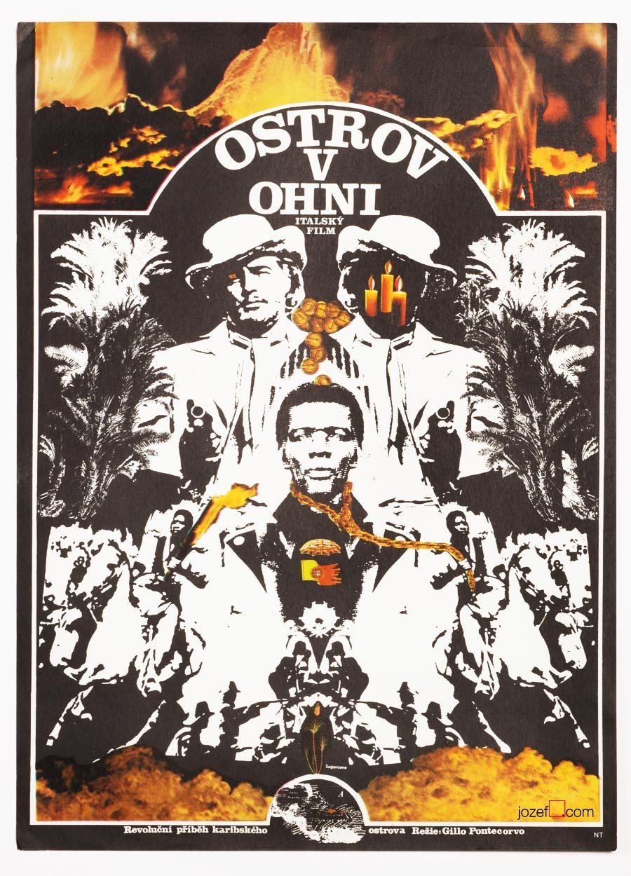 Burn / Queimada movie poster, 1970s poster design, Zdeněk Ziegler