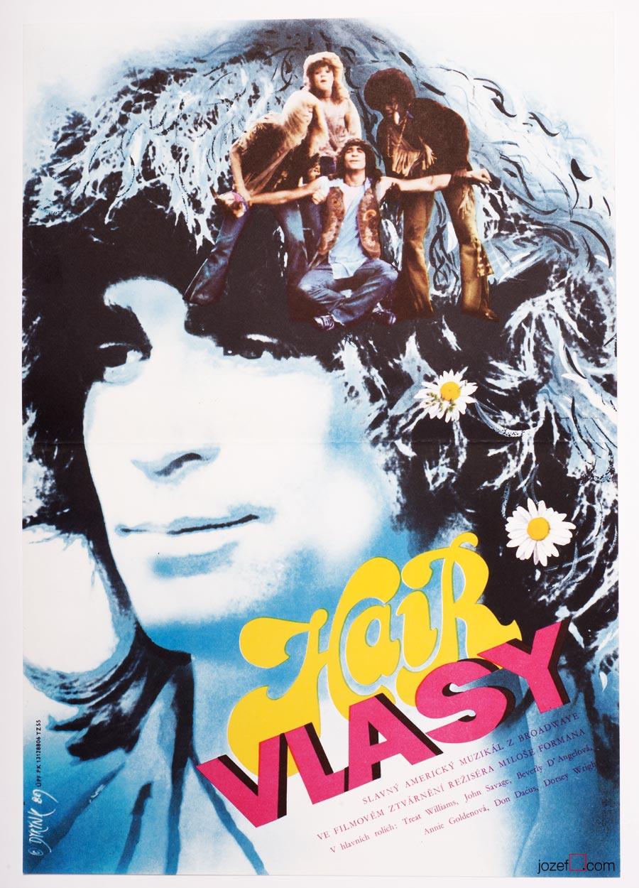 Hair Poster, 1980s Movie Poster, Milos Forman