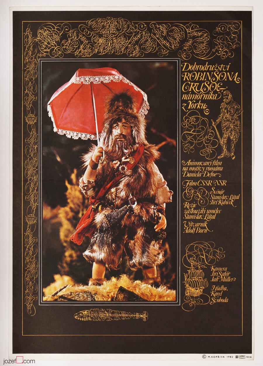 Robinson Crusoe Poster, 80s Animation