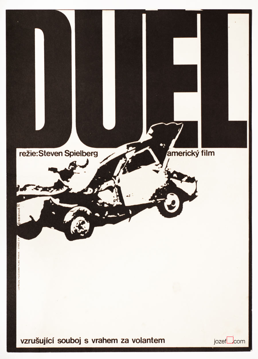 Duel movie poster, 1970s minimalist poster