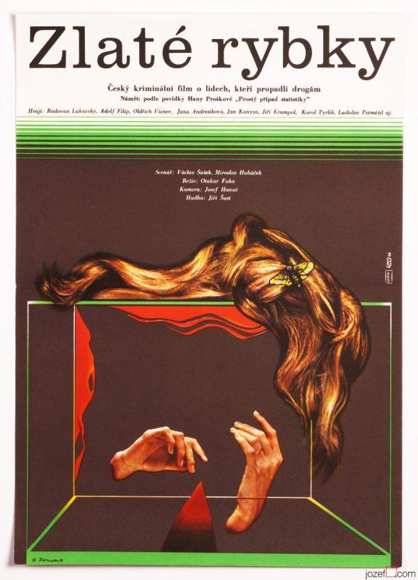Minimalist Movie Poster, Gold Fishes, 1970s Cinema Art