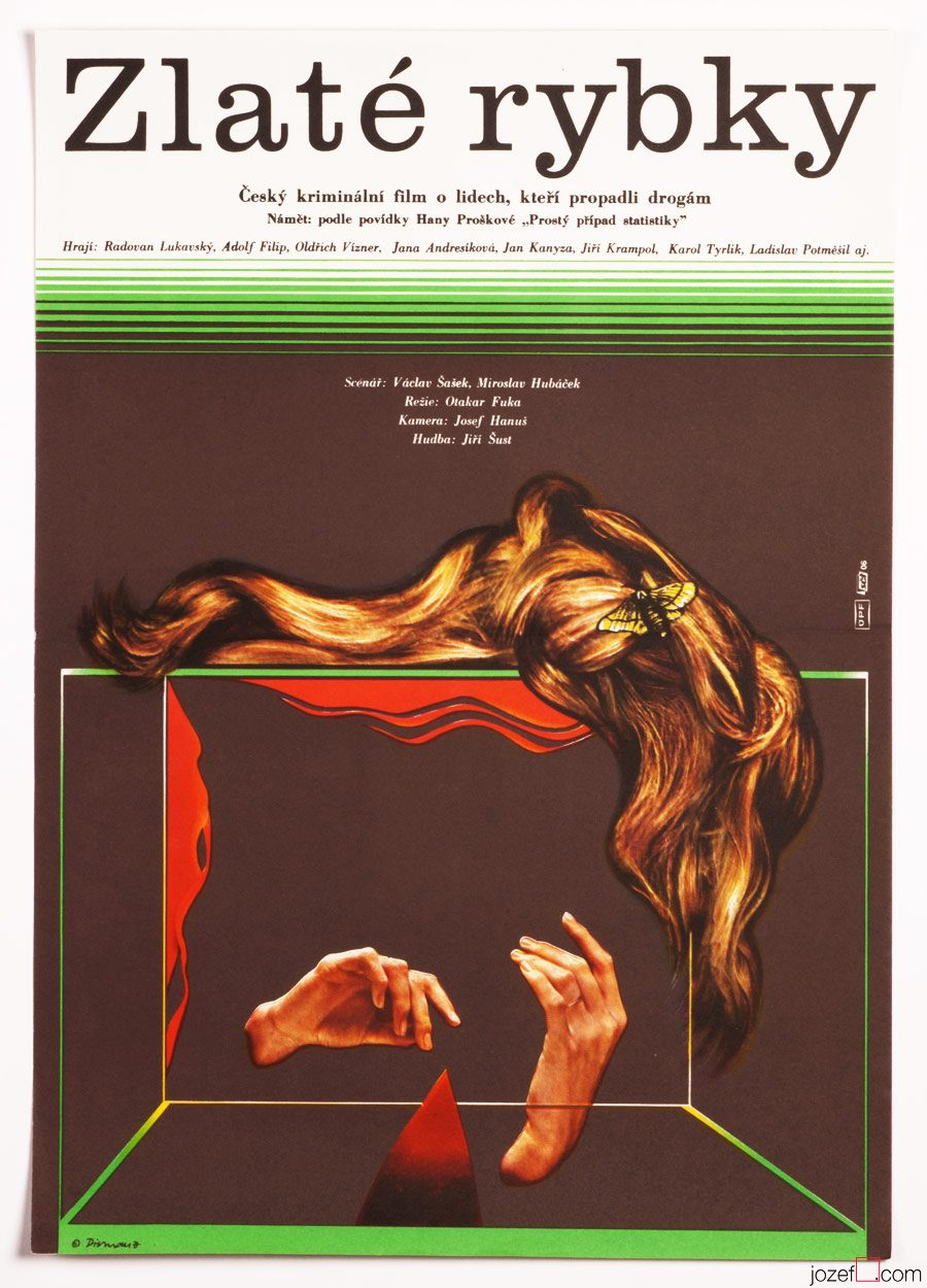 Minimalist Movie Poster, Gold Fishes, 1970s Cinema Art
