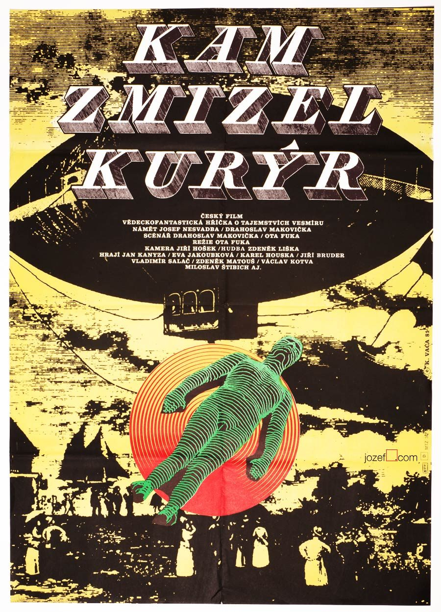 Sci-fi film poster, Where the Currier Disappeared, 1980s Poster Art