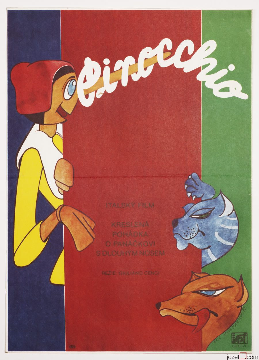 Pinocchio poster, 80s Kids Movie Poster