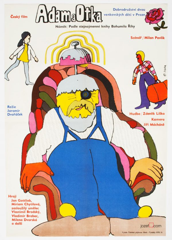 Illustrated Kids Poster, Adam and Otka, 70s Poster