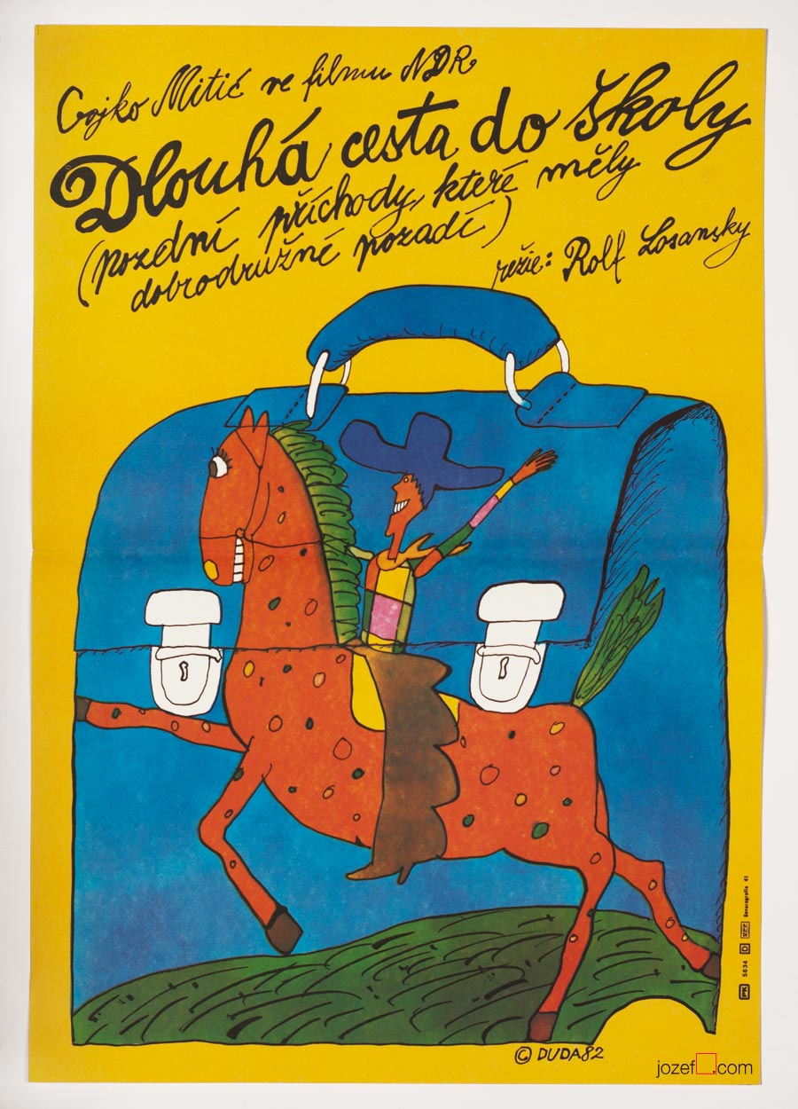 The Long Ride to School Poster, Vintage Kids Poster