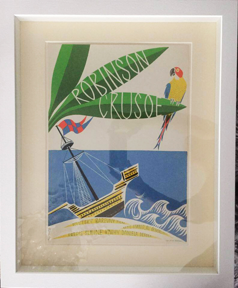 Robinson Crusoe Movie Poster in White Frame