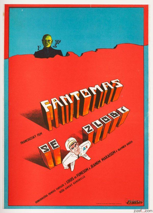Fantomas Unleashed, Movie Poster, 70s Cinema Art