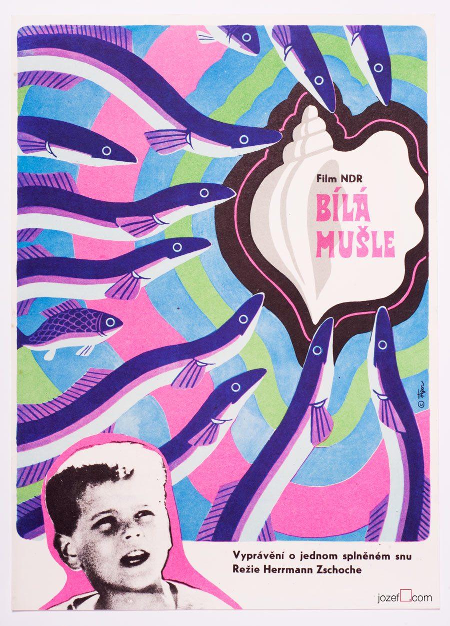 Vintage Kids Poster, White Shell, 60s Film Poster