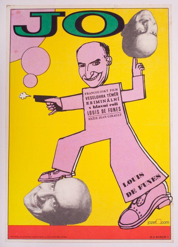 Louis de Funes, Jo, Vintage Film Poster