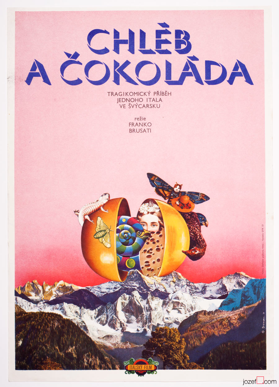 Bread and Chocolate Movie Poster, Surreal Poster Design