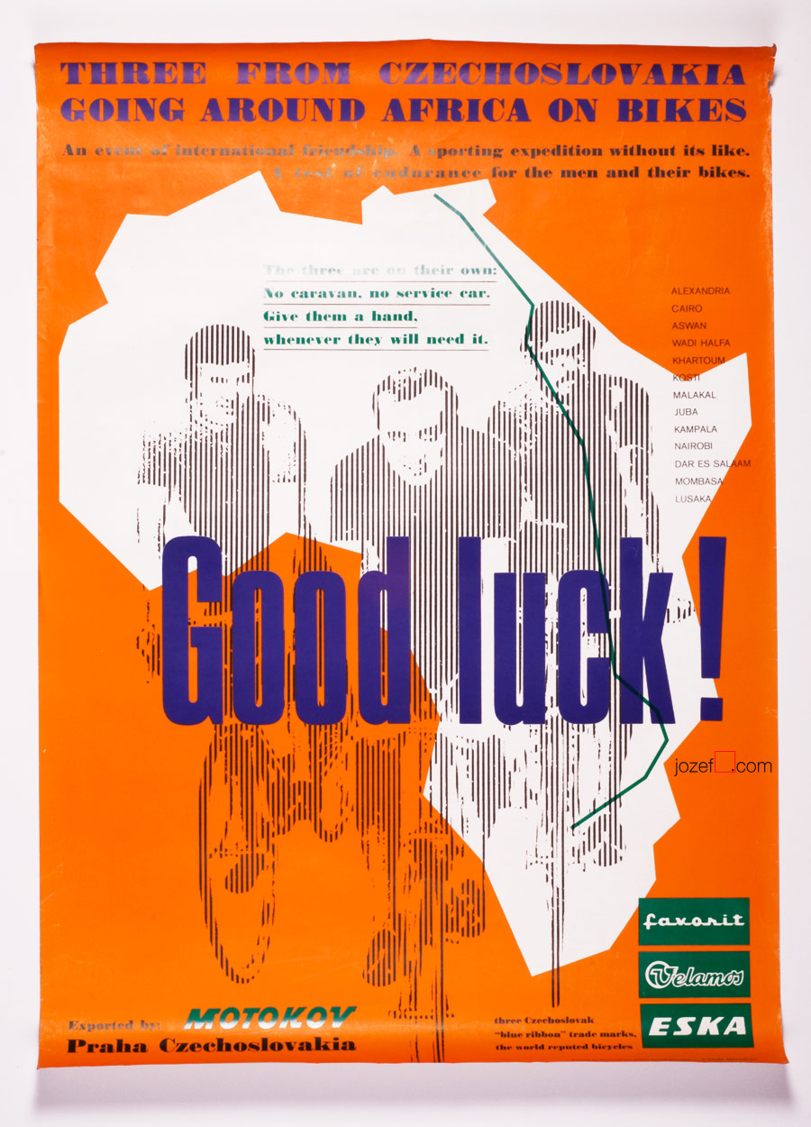 Vintage Cycling Posters, Touring Africa on Bikes